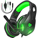 GH-2 Gaming Headset with Microphone for PS4,PC,Xbox One,Nintendo Switch,Laptops,Phones, Noise Cancelling Over Ear Headphones with Mic, LED Light, Bass Surround, Soft Memory Earmuffs (Green)