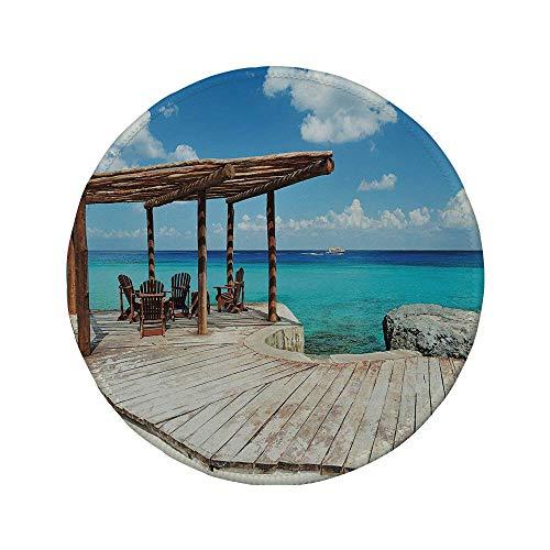 """Rutschfreies Gummi-rundes Mauspad Küstendekor Holzterrasse neben dem Strand mit lebendiger blauer Wasserveranda exotischem Ozean braunem Aquablau 7.9\""""x7.9\""""x3MM"""