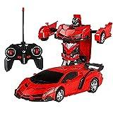 RC Voiture Transformation Robots Modèle Véhicule Sport Télécommande Robot Jouets Cool Deformation Voiture Enfants Jouets Cadeaux pour L'âge 3 4 5 6 7 8 9 Ans Garçons Enfants Cadeau,Rouge