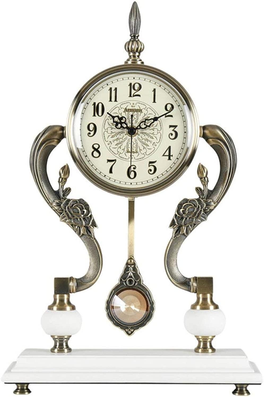 デスククロックファミリークロック置時計ヴィンテージクリエイティブミュート振り子付きリビングルーム用サイレントメトルムーブメントリビングルームの寝室に最適オフィス(色:ホワイト)
