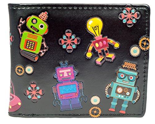 SHAGWEAR ® Wallet Mens Wallet with Coin Pocket and Card Slots   Unique Design Robots...