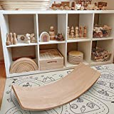 Mallify Wooden Balance Board with a Play Mat, Kids Natural Wood Rocker Board, Great Kids Learning Toy for Body Training, Exercise and Physical Therapy for Home & Classroom, 35''