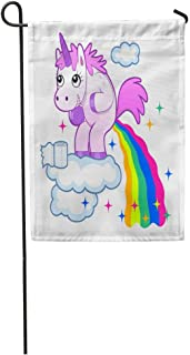 EnmindonglJHO Garden Flag Pink Poop Smiling Unicorn Pooping Rainbow Sky Funny Animal Cartoon Home Yard House Decor Barnner Outdoor Stand 12x18 Inches Flag