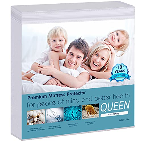 "Waterproof Mattress Protector Queen Size - 100% Organic Cotton Hypoallergenic Breathable Mattress Pad Cover, 18"" Deep Pocket, Vinyl Free - 60"" x 80"""