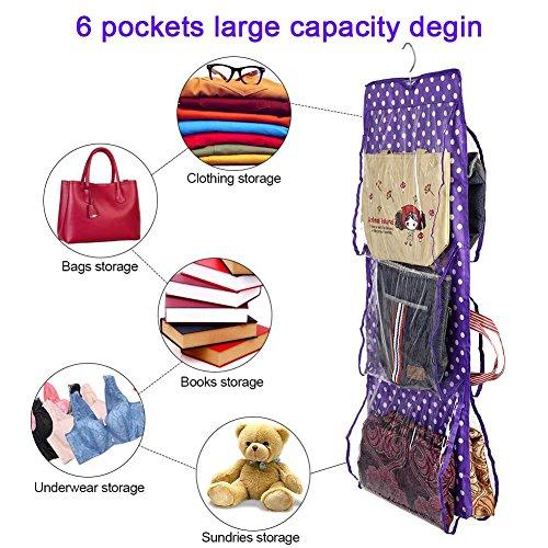 Zouminy Wasbare kledingkast, 6 vakken, stofdicht, boodschappentas, handtas voor portemonnee, opberger, organizer