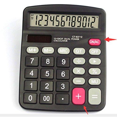 Tiptiper Computadora de mano Calculadora electrónica de escritorio de 12 dígitos Alimentación dual Solar & Battery