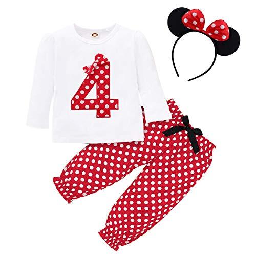 FYMNSI Baby Kleinkinder Mädchen 4. Vierter Geburtstag Minnie Kostüm Outfit Retro Gepunktet Baumwolle Langarm Top T Shirt + Lange Hosen + Ohr Stirnband 3tlg Bekleidungsset Rot 4 3-4 Jahre