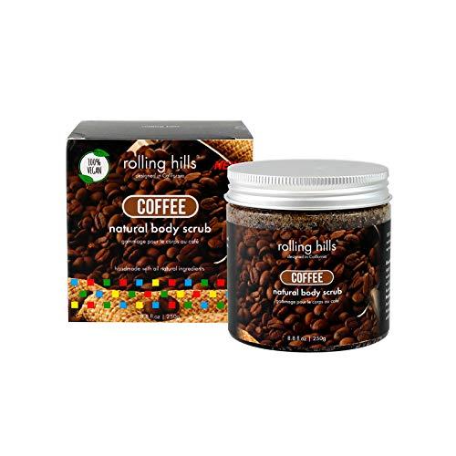 Rolling Hills - Natürliches Kaffee-Peeling - Körper- und Gesichtspeeling - 100% natürlich und 100% vegan - Peeling und Feuchtigkeitscreme - Für eine frische und verjüngende Haut - 250 g Dose