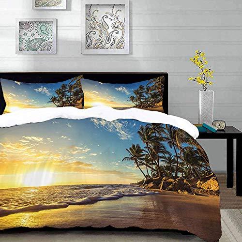 ropa de cama - Juego de funda nórdica, océano, imagen de palmeras en una playa exótica al atardecer con olas en el océano Dominican Paradi, juego de funda nórdica de microfibra con 2 fundas de