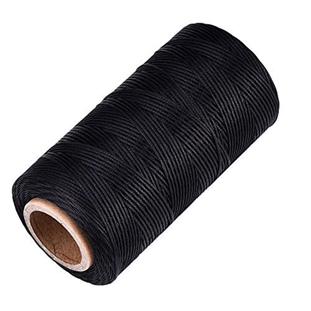 eBoot 260m 150D 1 mm Leather Sewing Waxed Thread Cord for Leather Craft DIY (Black)