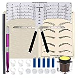Eyebrow Microblading Kit, Anghie 26pcs Eyebrow Microblading Practice Kit for Beginners with Pigment Ink Cup Holder 14 pin Blade Practice Skin Pencil Used for Eyebrow Pencil Tattoo Permanent Makeup