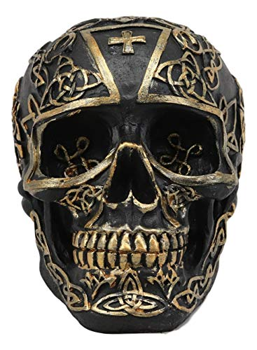 Ebros Celtic Trinity Knotwork Tattoo Crusader Templar Knights Cross Black and Gold Skull Statue 6' Long As Macabre Decor Skeleton Cranium for Halloween Day of The Dead Gothic Figurine Sculpture