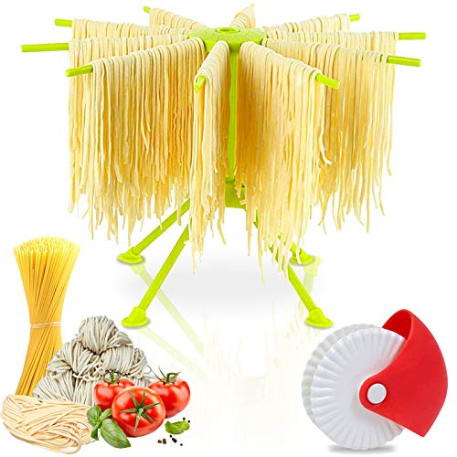 Fuairmee Pasta Drying RackCollapsible Spaghetti Dryer Stand with 4 Branched Plastic Noodle Hanging Dryer for Home Use Green