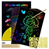 Birthday Gift for 4-8 Year Old Girls Kids, Scratch Art Set Toys Gifts for 5-10 Year Old Girl Rainbow...