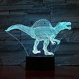 Lámpara De Ilusión 3D Con Batería Colorido Lampara Spinosaurus Jurassic Park 3D Óptico Led Lámpara De Luz Nocturna Dormitorio Decorativo Único