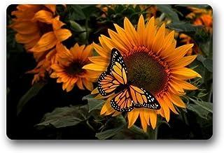 AfagaS Door Mat Beautiful Sunflower With Monarch Butterfly Rectangle Front Doormat Outdoor Indoor Entrance Doormat Heat-resisting Durable Rug Size: 23.6x15.7 Inches