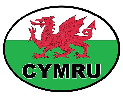 Landing Designs 2 x CYMRU- Welsh Dragon Flag Stickers