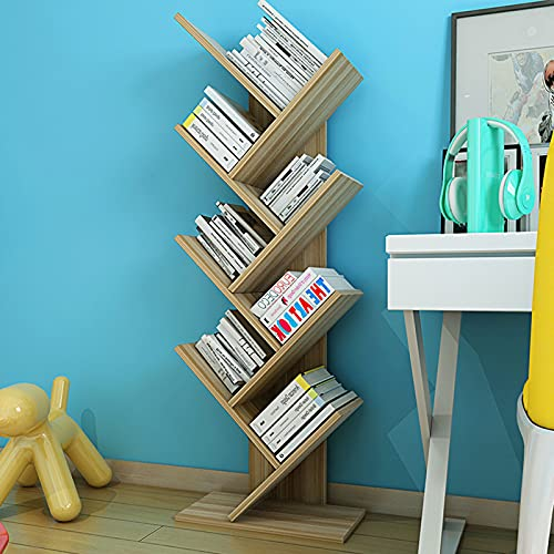 Librería 7 Niveles 116×40×22 Cm Librería de Madera en Forma árbol Estanteria Libros de Pie Salón Cuarto Oficina Librerías Alta Capacidad y Estable por CDs DVDs Películas Bookcase