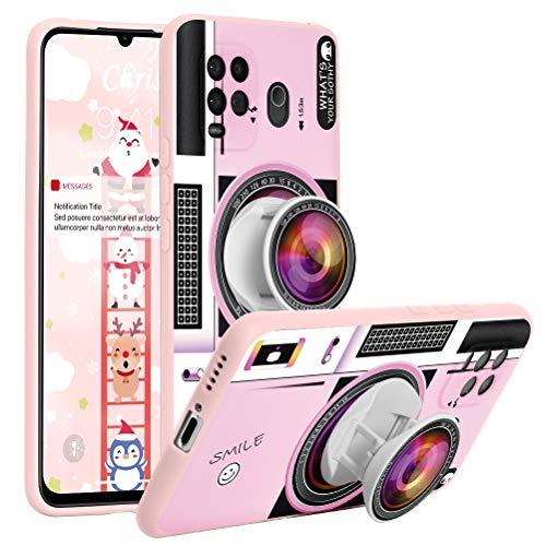 Yoedge für Xiaomi Redmi Note 9 Hülle,Rosa Silikon Halterung TPU Schutzhülle Ultradünn Stoßfest mit Griffhalter Ständer mit Cute Blume Cartoon Motiv Design Handyhülle für Redmi 10X 4G 6,53