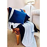 3-Piece Flannel Fleece/ Sherpa Throw Pillow and Blanket Set (Navy Blue, 50'x60')