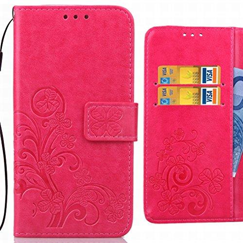 Ougger Custodia per Huawei Honor 6C Pro Custodie, Foglie Fortunate Portafoglio PU Pelle Magnetico Morbido Silicone Bumper Protettivo Borsa Custodie Cover per Huawei Honor 6C Pro con Slot Schede (Rosa)