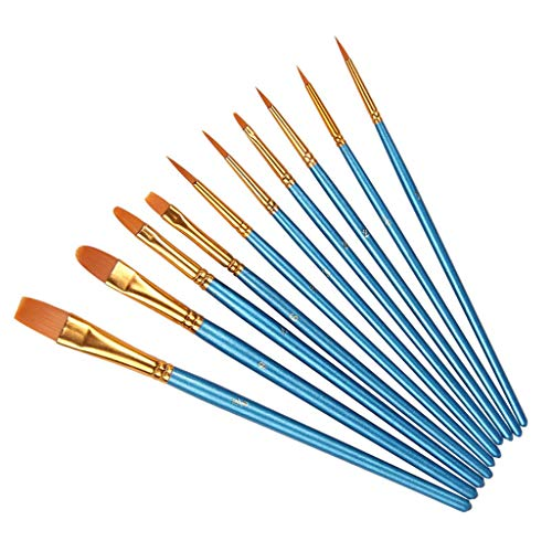 10 Pieces/Set Nylon Hair Watercolor Painting Brush, for Acrylic Painting...