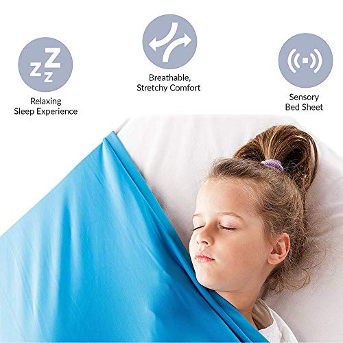 UW Sensory Compression Bed Sheet Blanket Best Alternative Weighted Blanket for Kids, Toddlers, and Adults Breathable Stretchy Cool Comfortable (Baby Blue, Full)