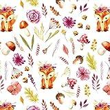 Tela de algodón 100 % para niños, 100 x 160 cm, diseño de zorro, por metros, artesanía, tela de costura, tela (zorro, seta y flor, color blanco, 100 x 160 cm)