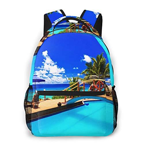 Laptop Rucksack Daypack Schulrucksack Backpack Sonnenschirm Pool Tropical Beach, Business Taschen Freizeit Rucksack Arbeits Schultasche für Herren Männer Schüler Schule