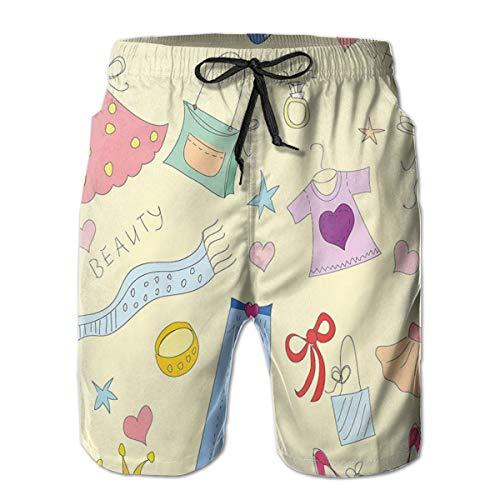 WANGKG Men's Big and Tall Swim Trunks Beachwear Drawstring Summer Holiday,Shopping Themed Doodle Items Princess Beauty Hearts and Stars Pattern,3D Print Shorts Pants,Large