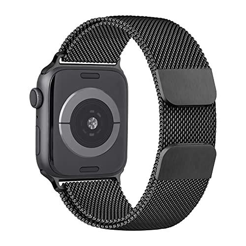 LINZHU Compatible con Correa Apple Watch 40mm 44mm 38mm 42mm,Metal Cerradura Magnética Pulsera de Repuesto de Acero Inoxidable Correa para iWatch Series SE 6 5 4 3 2 1(38mm/40mm,Negro)