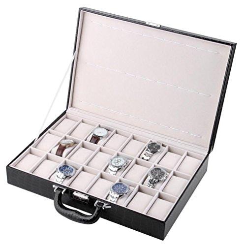 AMYMGLL Noir Grain PU Ceinture de verrouillage 24 chiffres portable boîte de rangement montre boîte à bijoux Grande capacité simple boîte de bijoux affichage , a