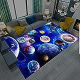 Tappeto Universo Galassia Gaming Pavimento Moderno Tappeto Salotto Gamer Bambini Ragazzo Camera Da Letto Senza Pelo Corto Lavabile Antiscivolo Gioco Tappetino Auto Tappetini (100x160 cm,blu)