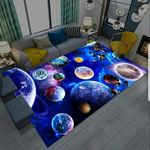 Tapis 3D Star Galaxie Planète Univers Motif Petit Tapis Salon Moderne Chambre Carre Antidérapant Enfant Ado Décoration Tapis,Gamer Tapis de Chaise Bleu Noir Lavable Antidérapant (A,80 x 160 cm)