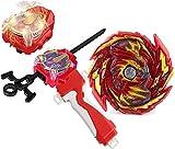 Bey Battle Burst Blade Evolution GT B-155 Booster Master Diabolos.Gn Red Left and Right Launcher Handle Starter Set Gaming Top God Bay Lr Bey Sparking Launcher Battling Tops Spinning Toys Gift for Boy
