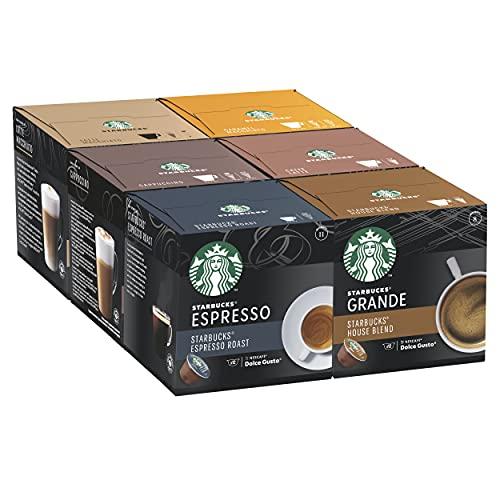 STARBUCKS Paquete Variado de Nescafe Dolce Gusto Cápsulas de Café 6 x Caja de 12 Unidades 670 g