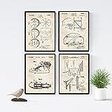 Nacnic Vintage - Pack de 4 láminas con Patentes de Baloncesto 2. Set de posters con inventos y patentes antiguas.