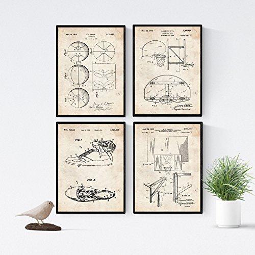 Nacnic Basketball Patent Poster 4er-Set. Vintage Stil Wanddekoration Abbildung von Sports und Alte Erfindungen. Verschiedene atletische Fitness Bilder ohne Rahmen. Größe A4.
