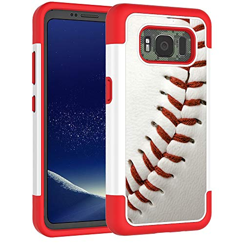 Galaxy S8 Active Case - Baseball Sports Pattern Shock-Absorption Hard PC and Inner Silicone Hybrid Dual Layer Armor Defender Protective Case Cover for Samsung Galaxy S8 Active
