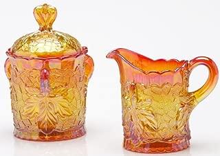 Maple Leaf Pattern - Marigold Carnival Glass - Mosser USA (Creamer & Sugar)