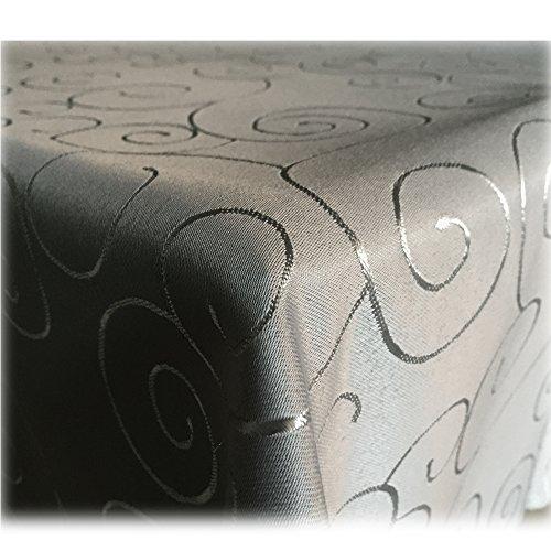 JEMIDI Tischdecke Ornamente Seidenglanz Edel Tisch Decke Tafeldecke 31 Größen und 7 Farben Tischdecke Bronze Ornamente Grau 90x90