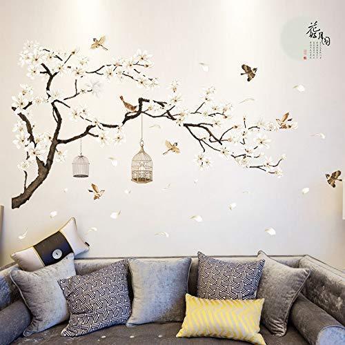 JQSM Tamaño Grande Árbol Pegatinas de Pared Flor de Aves Decoración para el Hogar Fondos de Pantalla para la Sala de Estar Dormitorio DIY Vinilo Habitaciones Decoración