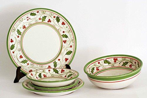 Servizio di piatti in ceramica natalizio, per 6 persone composto da 20 pezzi