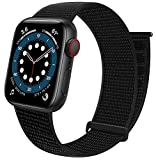 Sport Loop Band Compatible with Apple Watch Band 38mm 40mm 41mm 42mm 44mm 45m iWatch Series 7 6 5 SE 4 3 2 1 Strap, Nylon Women Men Stretchy Elastic Braided Wristband , 42 44 45mm Dark Black