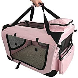 RayGar Pet Carrier Soft Crate Portable Foldable Fabric – Pink
