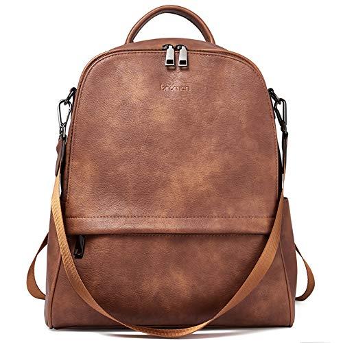 BROMEN Backpack Purse for Women Leather Anti-theft Travel Backpack Fashion College Shoulder Handbag Brown