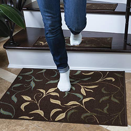 """Ottomanson Ottohome Collection Non-Slip Contemporary Leaves Design Rug, 2'3"""" X 3', Brown"""