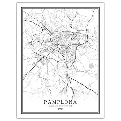 Impresión Pinturas sobre Lienzo ,Cuadros De Arte De Pared Abstracto Negro Blanco Mapa De La Ciudad De Pamplona Póster Lienzo Sin Marco Pintura para Sala De Estar Dormitorio Oficina Hogar Decorati