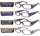 Eyekepper 4-Paia Occhiali da Lettura Rettangolare Cerniera a Molla Aste Modello Geometrica in Plastica Occhiali da Presbite Multi Paia Diottria +2.00