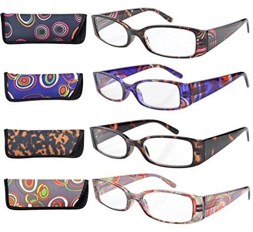 Eyekepper 4-Pack Beautiful Colors Spring Hinge Rectangular Reading Glasses...